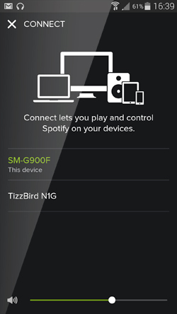 Tizzbird Spotify connect